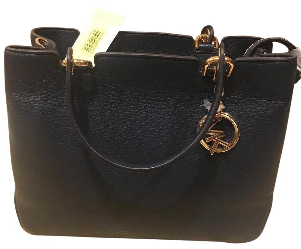 6a057bebcd38c7 Michael Kors Anabelle Medium Top-zop Tote Navy Pebble Leather ...