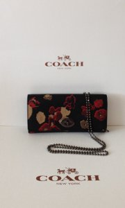 Coach COACH EMBOSSED FLORAL PRINT LEATHER SLIM ENVELOPE CHAIN PURSE WALLET