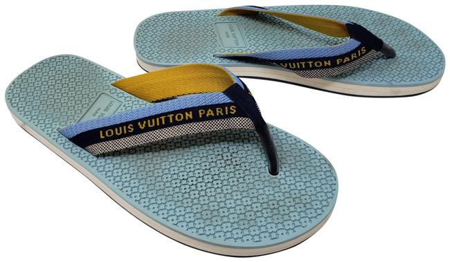 Item - Blue Yellow White Navy Ivory Woven Canvas Sandals Size EU 37 (Approx. US 7) Regular (M, B)