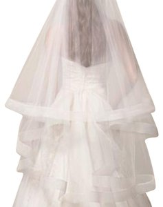 Vera Wang Bridal Ivory Medium White By Two Tier Mid Length with Horsehair Trim Bridal Veil