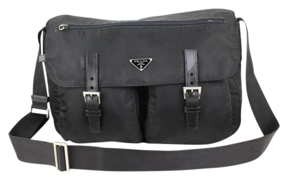 d1dd59e47be32f Prada Double Vela Small Double-pocket Messenger 10pt920 Black Nylon ...
