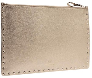 Valentino Rockstud Metallic Studded Iconic Gold Clutch