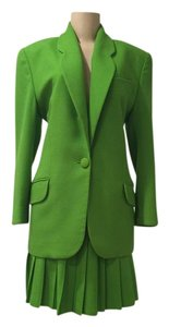 Ann Taylor ANN TAYLOR, Vintage, Kelly Green, Wool Suit, Pleated Skirt, Size 6