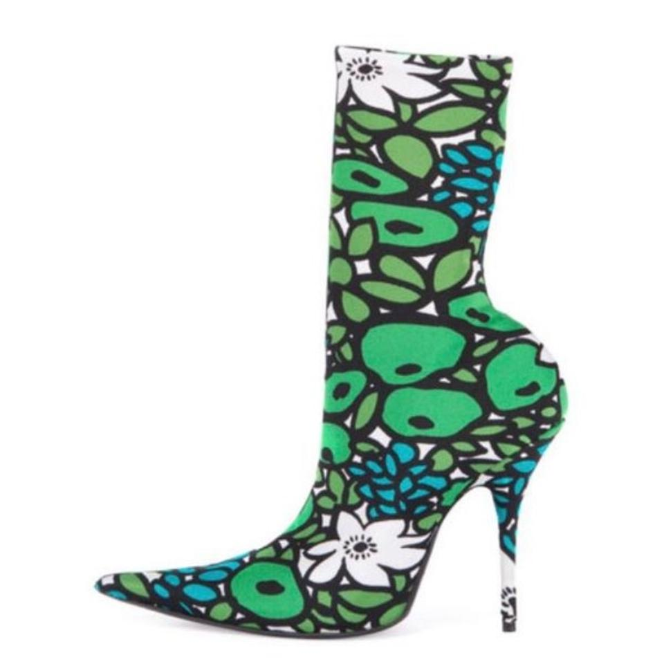 52f4e0b6923e4 Balenciaga Green White Black Multi New Floral Satin Pointed-toe  Emerald White Boots Booties
