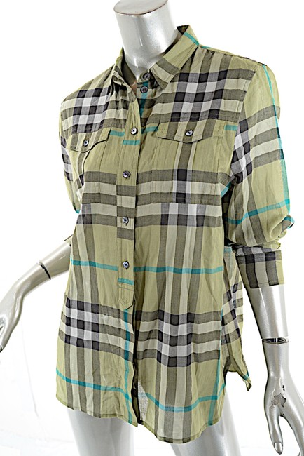 Burberry green multi color signature plaid shirt w chest for Green plaid button down shirt
