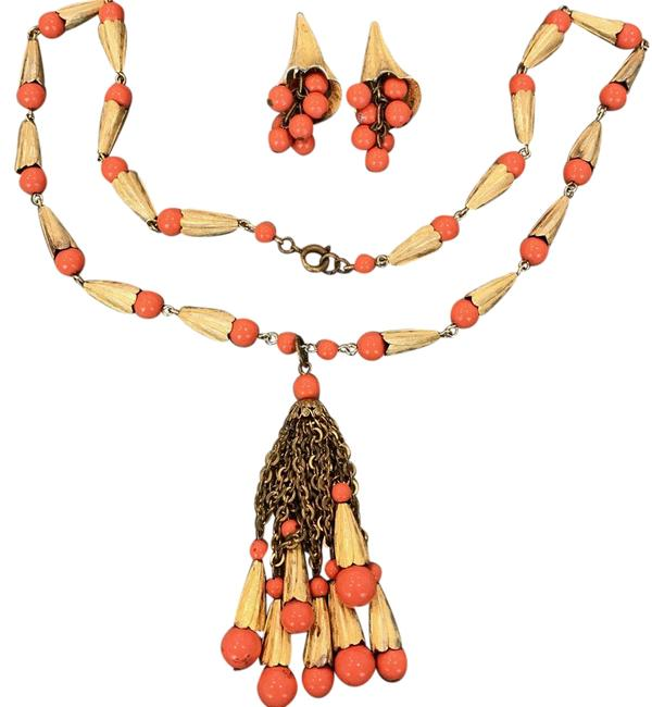 "Item - Coral Orange Gold Lucite Bead Tassel Earrings 24"" Necklace"