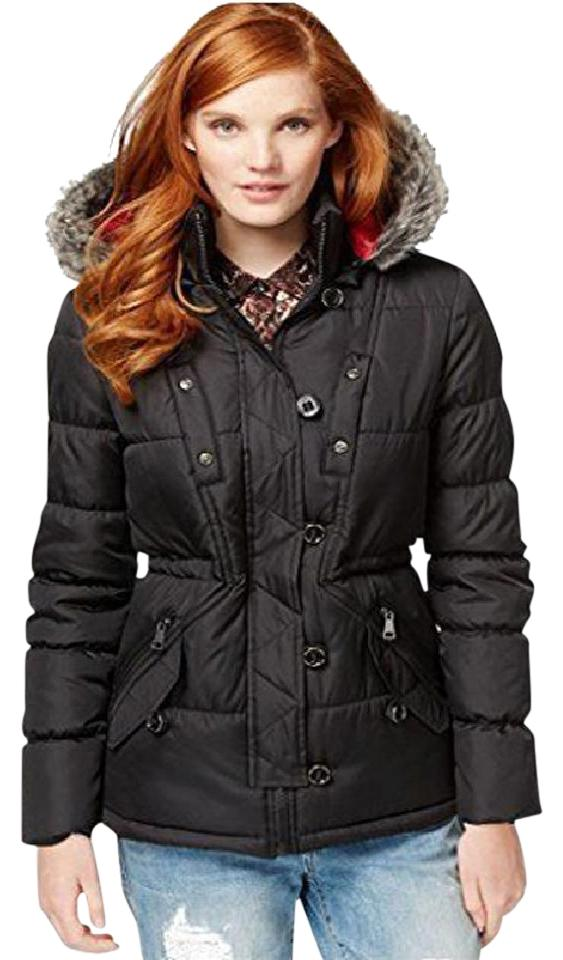 Black Womens Juniors Faux Fur Hooded Quilted Jacket Size Petite 2