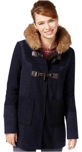 Coffee Shop Duffle Faux Fur Toggle Mixed Media Coat