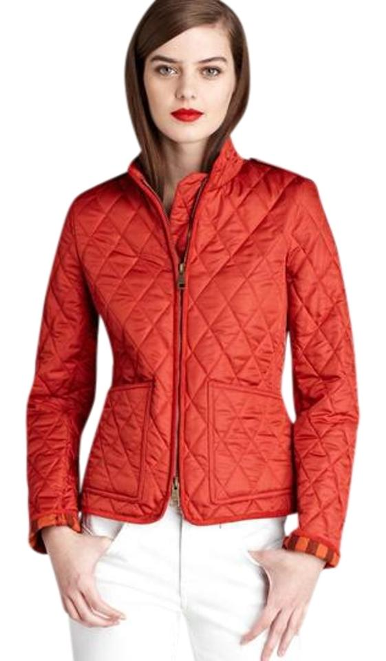 Burberry Red Womens Quilted Check Coat Small Spring Jacket