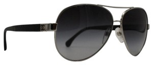 Chanel Sale-Silver and Black Lambskin Quilted CC Aviator Sunglasses 4195-Q