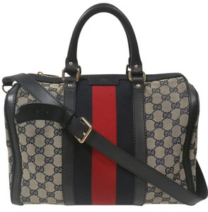 Gucci Web Boston Cross Body Satchel in Beige