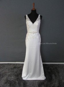 Maggie Sottero Diamond White Satin Alera 5hw157 Feminine Wedding Dress Size 6 (S)
