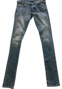 Saint Laurent Ysl Distressed Denim Straight Leg Jeans-Light Wash