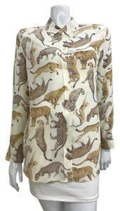 Equipment Cheetah Cat Print Silk Top Off White