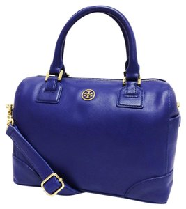 Tory Burch Robinson Mini Saffiano Leather Satchel in Cobalt Blue