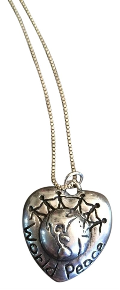 Silver world peace pendant necklace tradesy unknown world peace pendant necklace aloadofball Image collections
