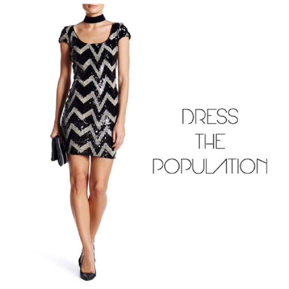 Dress the Population Black & Tan Chevron Sequin Short Cocktail Dress ...