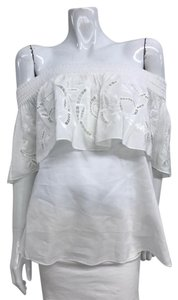 Tibi Off Shoulder Embroidered Top White