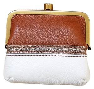 Fossil Fossil Dk Tan/White Leather Frame Coin Purse
