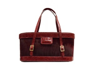 Dennis Basso No Dust Custom Made Tote in Burgundy red