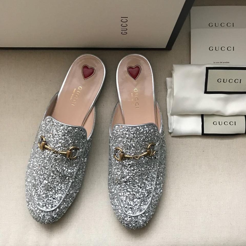 5a52c1dcf95e Gucci Silver Princetown Glitter Princetown Loafer Mules/Slides Size ...