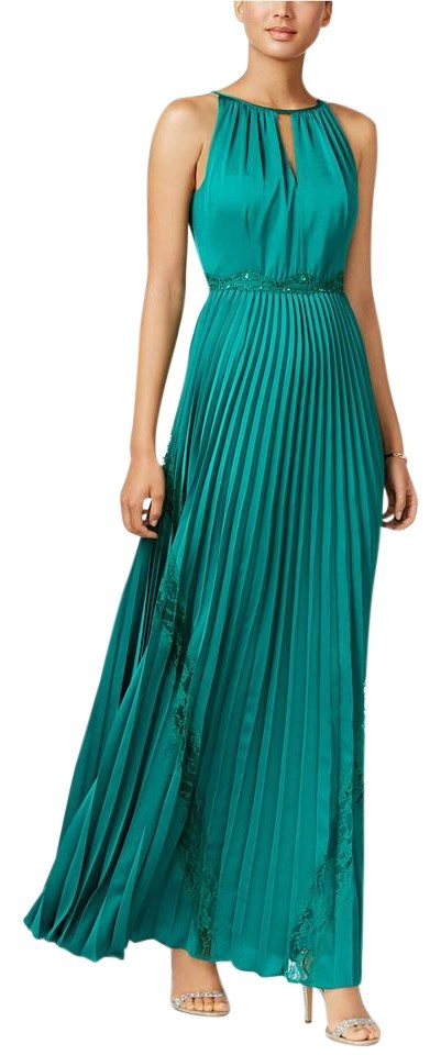 Adrianna Papell Green Vivid Emerald Embellished Satin Chiffon Gown ...