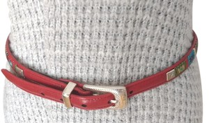 Brighton Brighton Red Leather Belt With Beaded Design, Stlyle Q3507