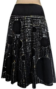 Basil & Maude Sequins Beads Swing Skirt Black and silver