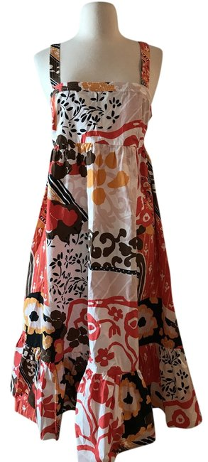 Item - Red Orange Multi Sundress In Magnificent Floral Short Casual Dress Size 10 (M)