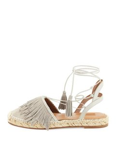 Aquazzura Fringe Flat Suede Leather Light Gray Sandals