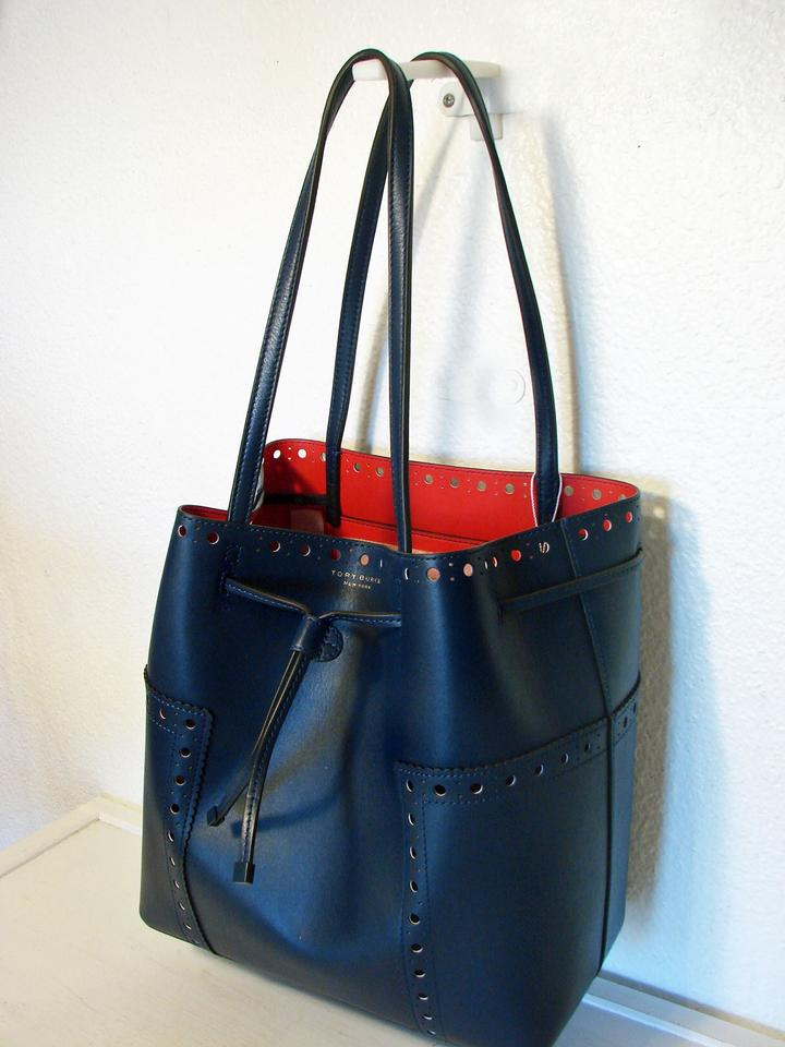 0ba1849188a1 Tory Burch Block-T T Brogue Drawstring Royal Navy Cherry Red Leather Tote -  Tradesy