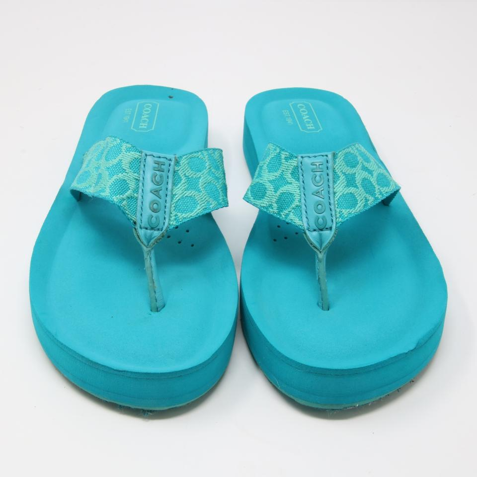 14ecd1a42 Coach Turquoise Signature Jessalyn Flip Flops Canvas 8b Sandals Size ...