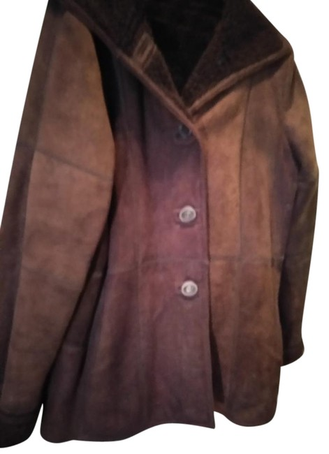 Item - Maroon Brown Sheared Suede Warm Coat Size 14 (L)