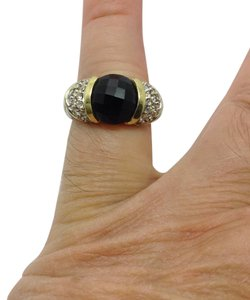 David Yurman Onyx diamond Sterling silver, 18k gold, Capri ring