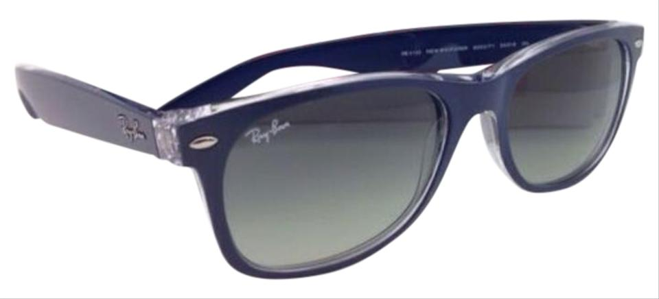 15b81cdd69d8 Ray-Ban Rb 2132 6053 71 52-18 New Wayfarer Blue-clear Frame Grey ...