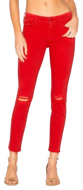 Item - Red Distressed Looker Ankle Fray Skinny Jeans Size 25 (2, XS)