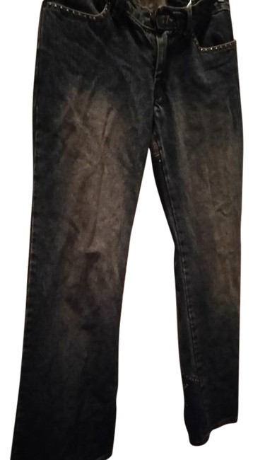Item - Dark Blue Rinse With Corduroy Piece and Metal Studs Flare Leg Jeans Size 32 (8, M)