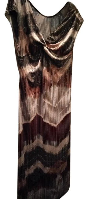 Item - Brown Orange Black Beige White Print Stretchy Long Casual Maxi Dress Size 14 (L)