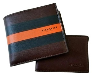 Coach NEW COACH men Striped Leather wallet ID photo case holder case Gift