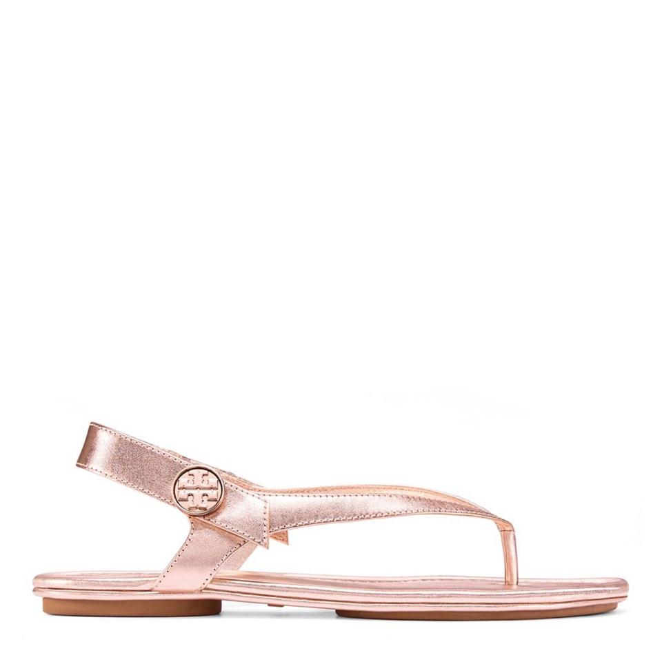 4f8d3fb9a2e1 Tory Burch Rose Gold Minnie Travel Metallic Leather Sandals Size US ...