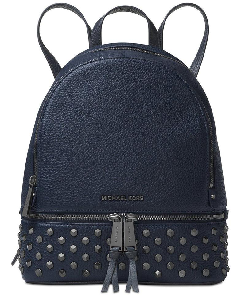 1c056c253d1461 Michael Kors Venus Rhea Zip Medium Studded School Travel (New with Tags)  Admiral Navy Blue/Gunmetal Hardware Leather Backpack