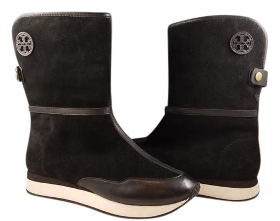 947c10ddbd46 Tory Burch Black New Balfour Deep Split Suede Leather Short Winter Boots  Booties