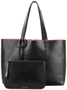 Mansur Gavriel Leather Classic Pink Interior Tote in Black