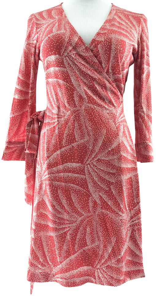 dec9a203c40 Diane von Furstenberg Red Orange Vintage Print Julian Mini Wrap Casual Dress