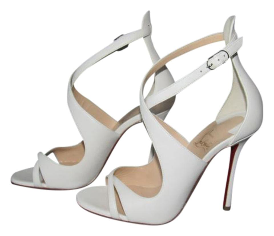 huge selection of 00d76 768b4 Christian Louboutin White New Malefissima 100 Leather Latte Sandals Size EU  39.5 (Approx. US 9.5) Regular (M, B) 31% off retail