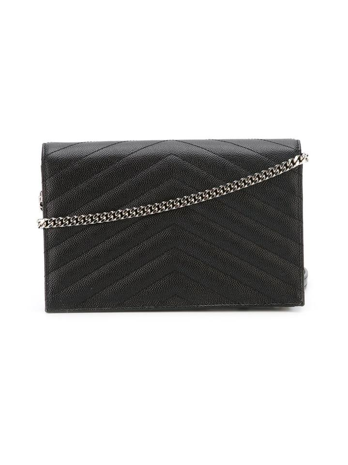 Saint Laurent Chain Wallet Ysl Monogram Quilted Envelope Clutch  Black Silver Leather Cross Body Bag - Tradesy 24cc210f4c46b