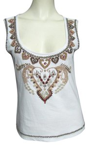 Andrea Behar Bejeweled Beaded 8 Beads M Real Sea Shells 10 Sleeveless Shirt Hearts Floral Design Top white
