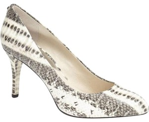 Michael Kors Python Leather Round Toe Comfortable Heel White Pumps