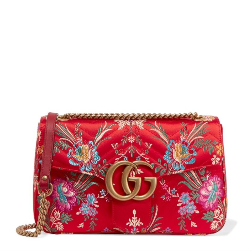 aa369a5ec136 Gucci Chain Marmont Gg Medium Quilted Floral Jacquard Shoulder Bag ...