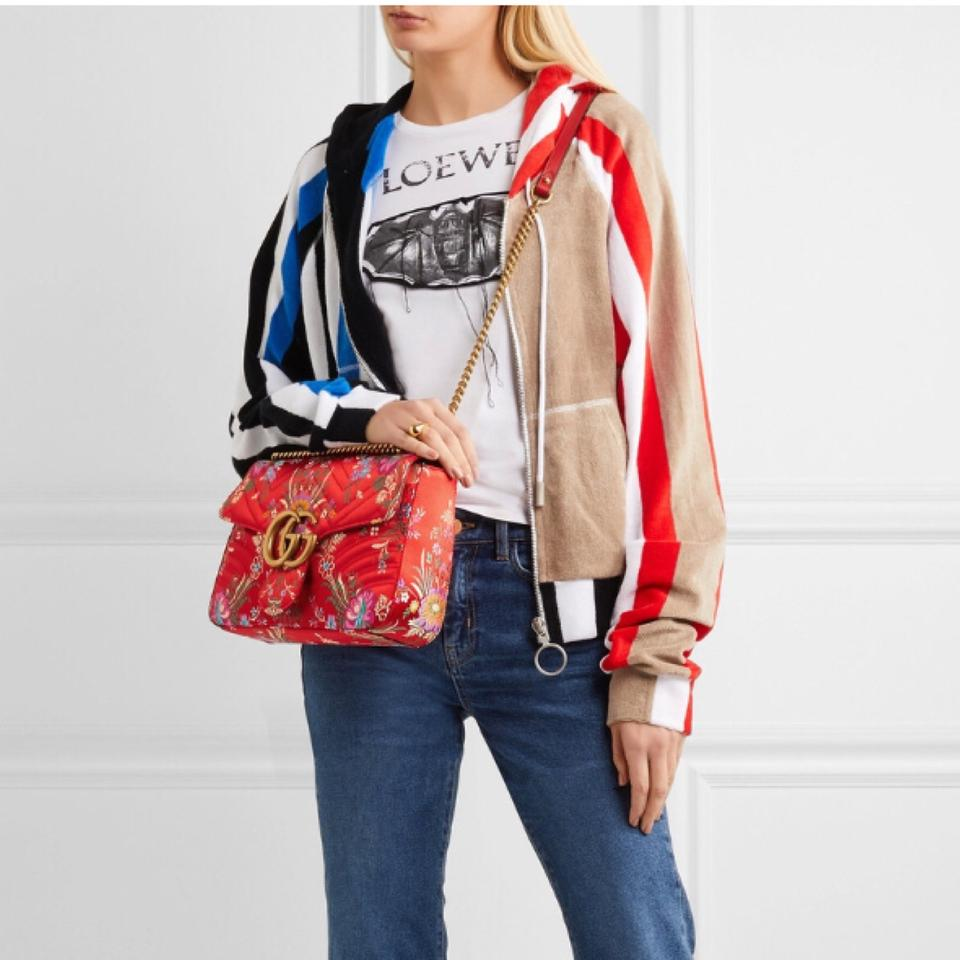 bcd387c3b4e83f Gucci Chain Marmont Gg Medium Quilted Floral Jacquard Shoulder Bag - Tradesy